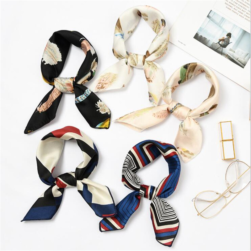 Fashion Square Scarf Hair Tie Band For Business Party Women Elegant Small Vintage Skinny Retro Head Neck Silk Satin Scarf Lady