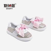 Snoffy Sequin Kids Shoes Girls Flats Cute Bow Slip On Kids Loafers 2018 Fashion Autumn Children Glitter Shoes For Girls TX403