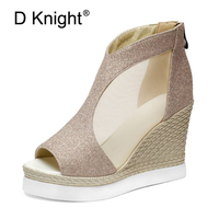 Sexy Women Gladiator High Heel Sandals Cutouts Open Toe Pumps Bling Glitter Platform Shoes Woman Wedge Thick Bottom Casual Shoes
