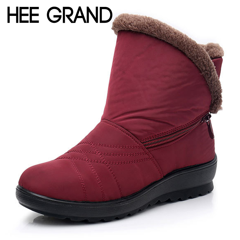 HEE GRAND Platform Women Ankle Boots Zip On Winter Warm Waterproof Ankle Boots Flat With Causal Shoes Woman Plus Size XWX6976 hee grand women rainboots 2017 flat rubber ankle boots waterproof lace up platform shoes woman candy color size 35 40 xwz4506
