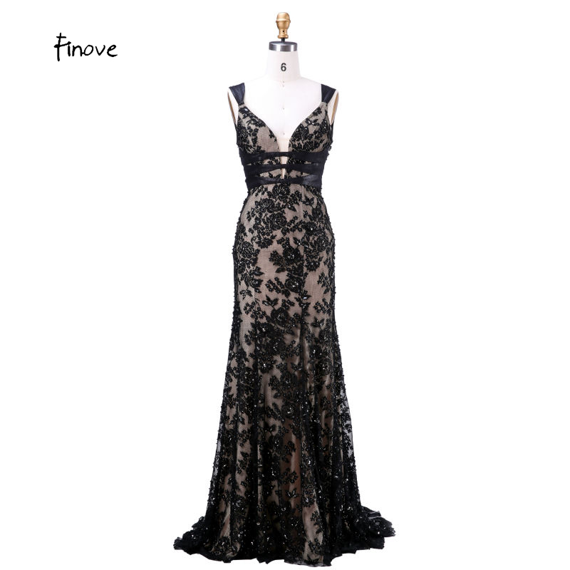 Finove Long Evening Gowns 2019 New With V Neck Backless Appliques Beading Floor Length Sexy Plus