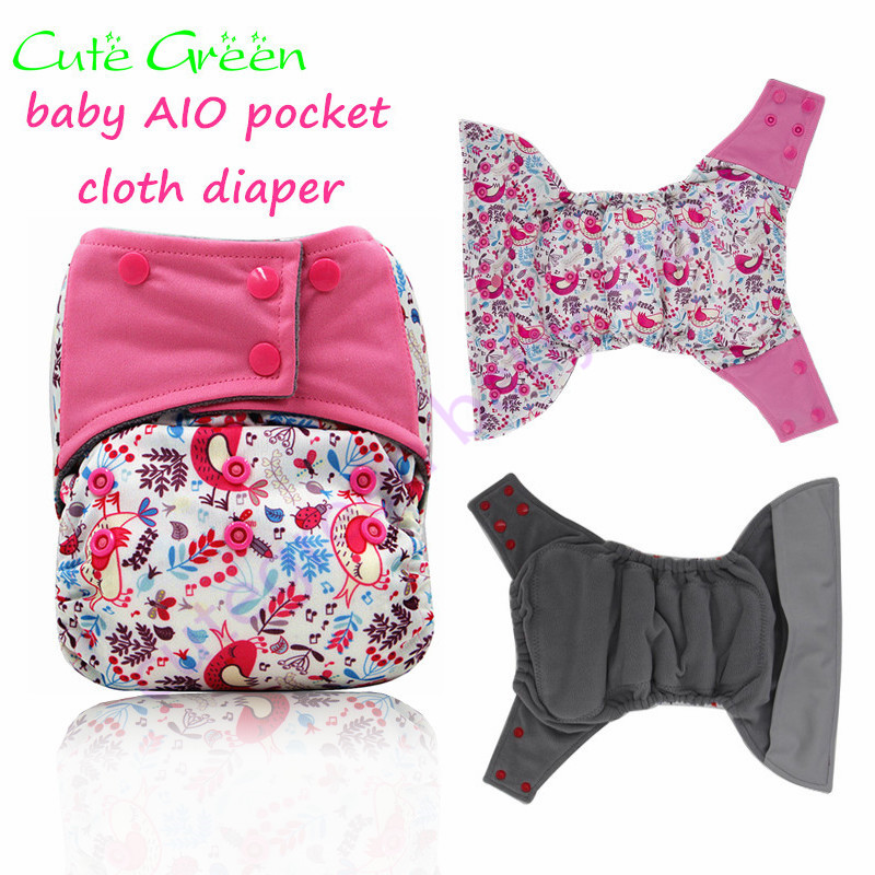 polyester microfleece aio cloth diaper with insert sewn baby cloth diapers baby nappy pocket aio cloth