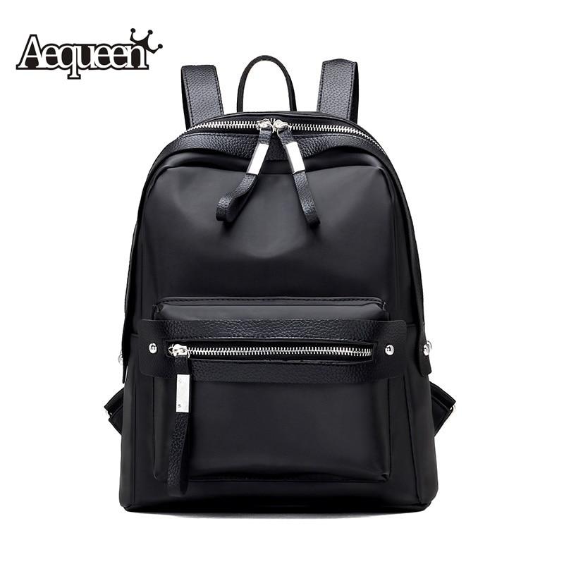 AEQUEEN 2017 Women Waterproof Nylon Backpack School Bags For Teenagers Girls Students Ladies Travel Backpack Pack Bag Black