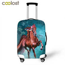 3D Horse Print Luggage Protective Cover for 18-32 Inch Baggage Elastic Suitcase Cover Travel Accessories Thick Travel Bag Cover(China)