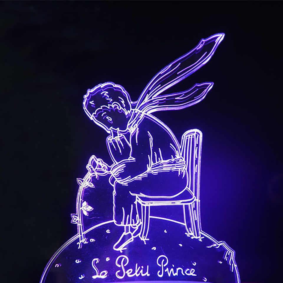 3D Usb сенсорная кнопка ночник 7 цветов Изменение Маленький принц мальчик в форме розы настольная лампа Led ребенок сон ребенок подарки