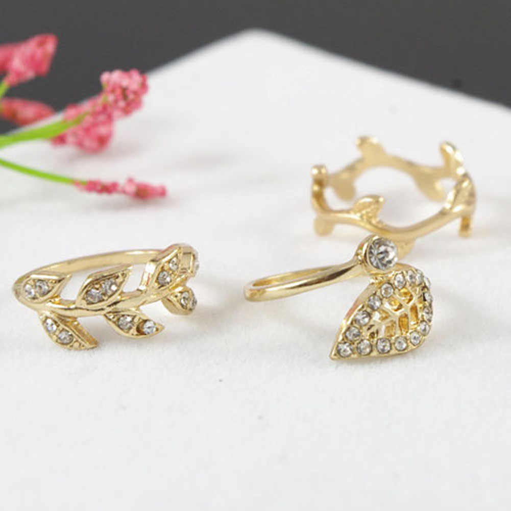2017 New Europe and United States Retro personality Sign Leaf Punk Crystal Ring For Women Jewelry (Three Pcs/Set)