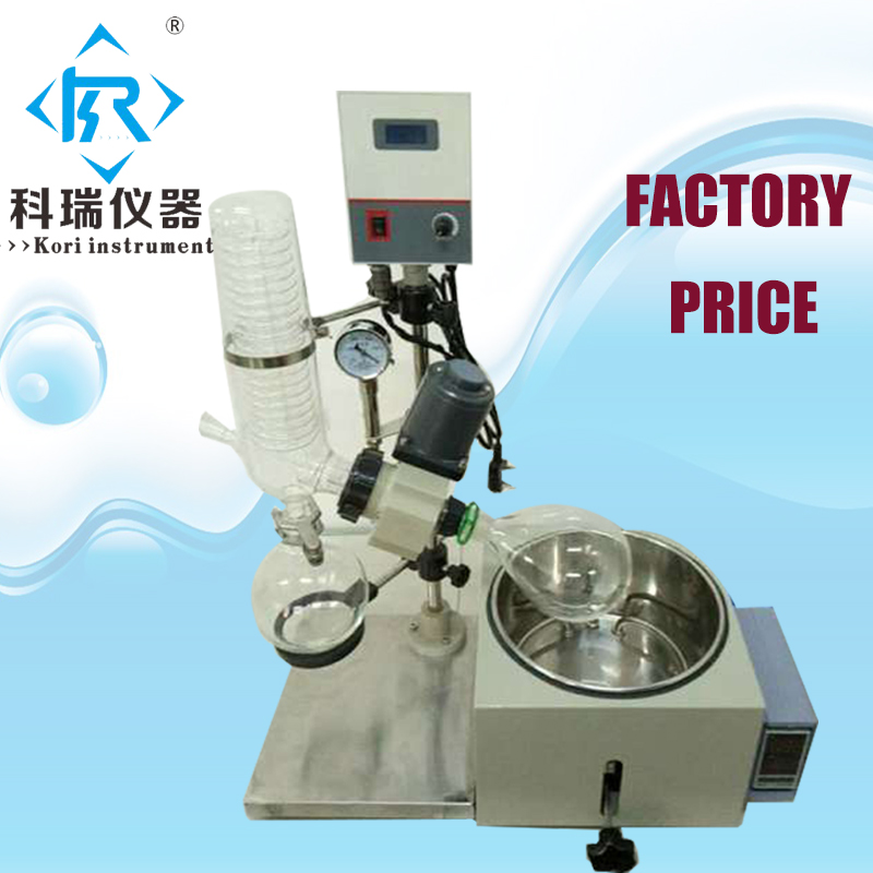 RE201D Lab pharmaceutical Alcohol Extract Vacuum rotary evaporator crystallizer/ Rotovap /Roto vape glass lab evaporator with 5l evaporative flask with vertical condensor heating water bath vacuum rotary evaporator rotovap