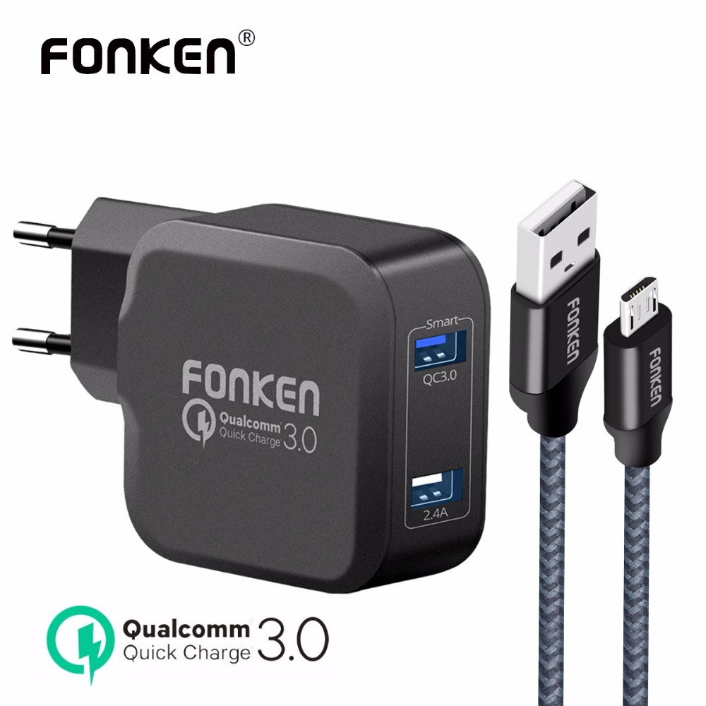 FONKEN Dual USB <font><b>Charger</b></font> Quick Charge 3.0 Fast <font><b>Phone</b></font> <font><b>Charger</b></font> QC3.0 QC2.0 2A Wall <font><b>Charger</b></font> with Charging Cable for Mobile <font><b>Phone</b></font>