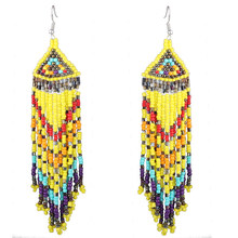 Claire Jin Small Beads Fringe Drop Earrings for Women Ethnic Jewelry Vintage Handmade Long Tassel Multi Color Bohemian Earring(China)