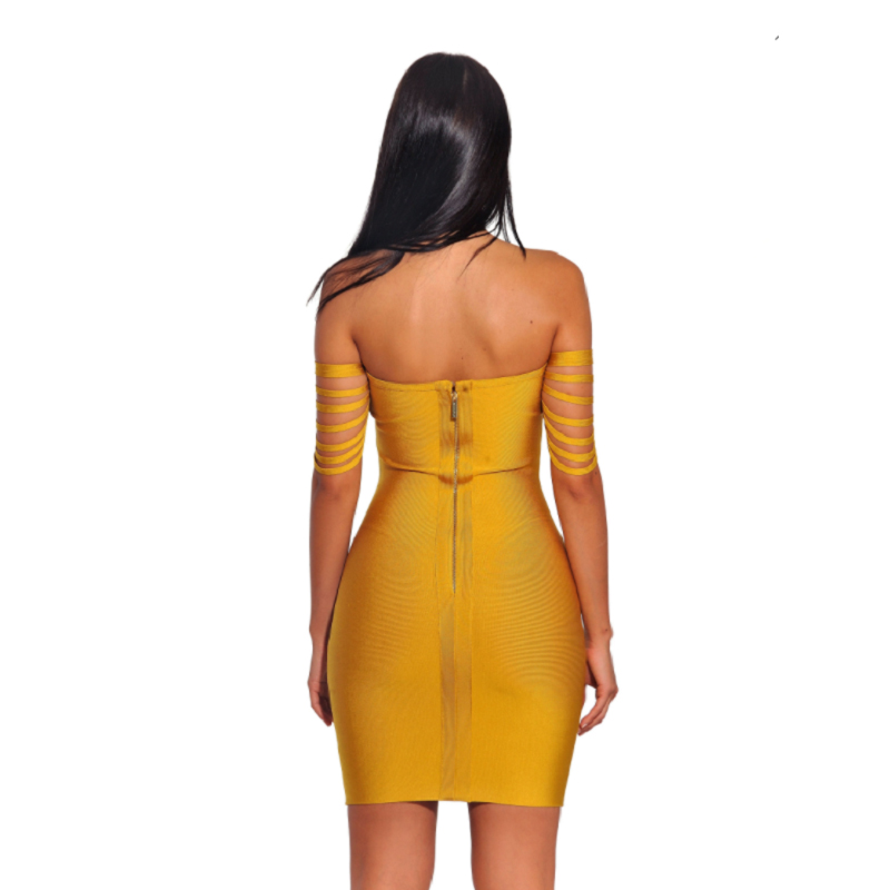 Women Off Shoulder Midi Dresses Empire Autumn Slash Neck Strapless Solid Night Club Party Wear Dresses For Ladies Drop Shipping - 3