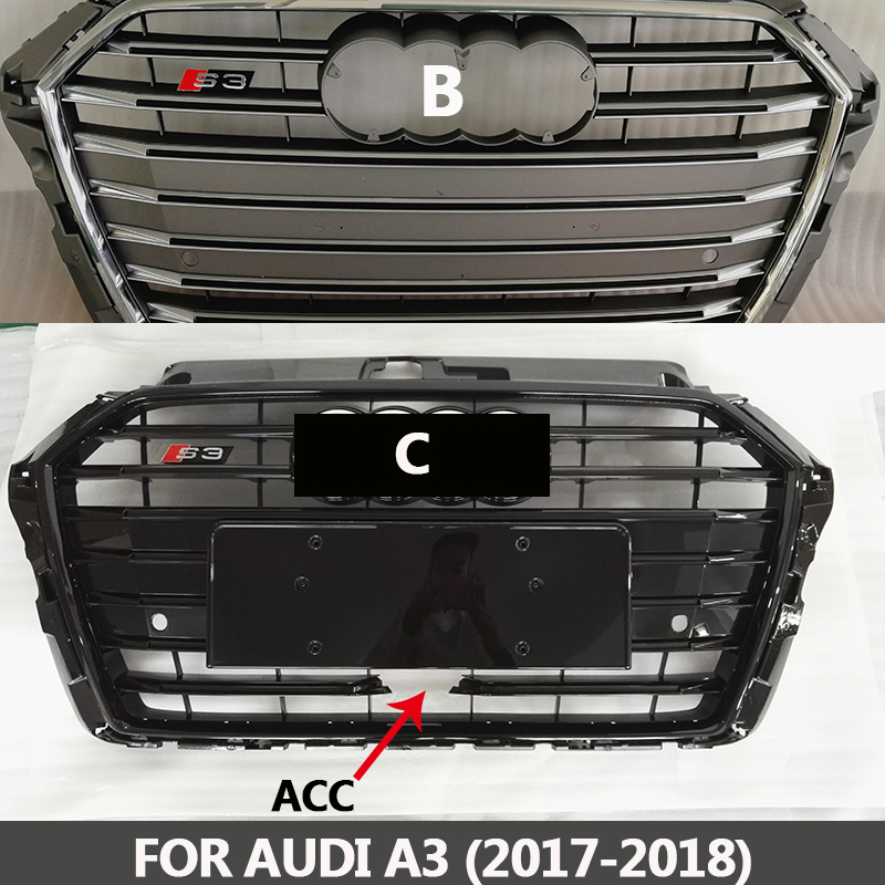 2017-2018 A3 TO S3 style ABS chromed gray/black front bumper grille center grill racing grills Fit for Audi A3 ACC цена