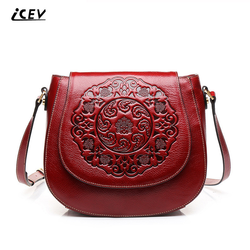 ICEV New Arrival Vintage Genuine Leather Bags Saddle Women Messenger Bags Embossed Flower Women Leather Handbags Shoulder Bags icev new korean fashion high quality simple genuine leather saddle crossbody bags for women messenger bags cow leather handbags