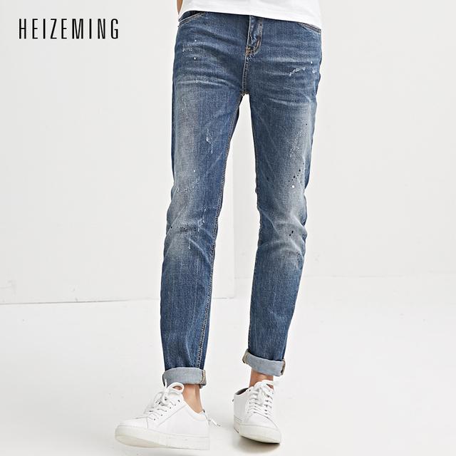 Heizeming 2017 hombres pantalones vaqueros de hip hop para hombre jeans de moda pantalones lápiz Masculinos pantalones de Estiramiento de La Manera Superior Más Negra Un Par De Mezclilla Skinny