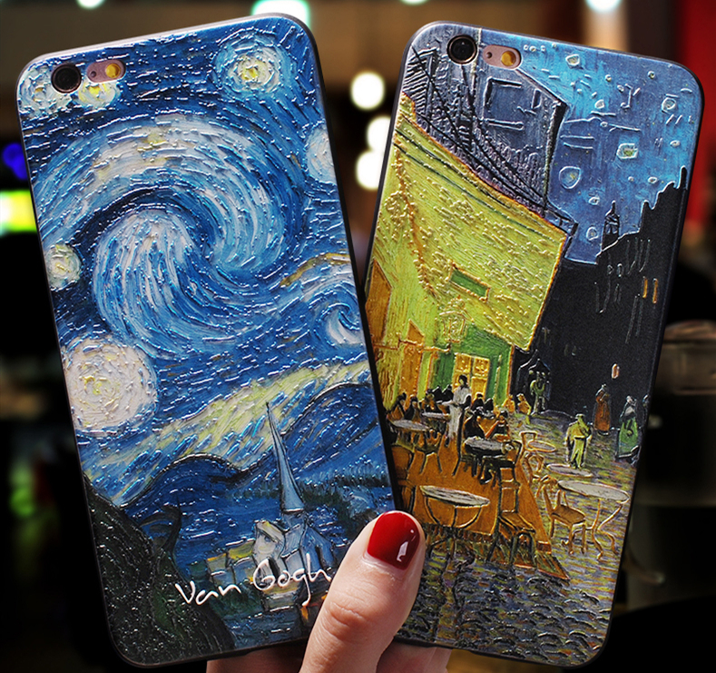 3D Relief Van Gogh Phone Case For iPhone 7 Plus 8 6 6S X Silicone Cover For iPhone SE 2020 XR 11 Pro XS MAX 5 5S Starry Sky Case(China)