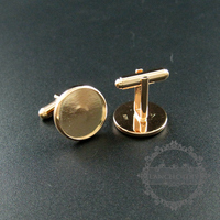 16mm Setting Size Rose Gold Plated Round Thick Bezel Solid 925 Sterling Silver Cufflink Bezel Tray