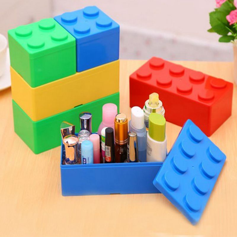 Building Block Shapes Can Be Superimposed on the Desktop Storage Box plastic storage box storage box office stationery Desktop