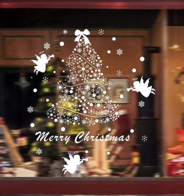 2017 diy christmas tree wall sticker shop window glass mall pendant ornaments shops malls decor wall