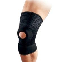 лучшая цена 1pcs Adjustable Sports Training Elastic Knee Support Brace Kneepad Breathable Patella Knee Pads Hole Kneepad Safety Guard Strap