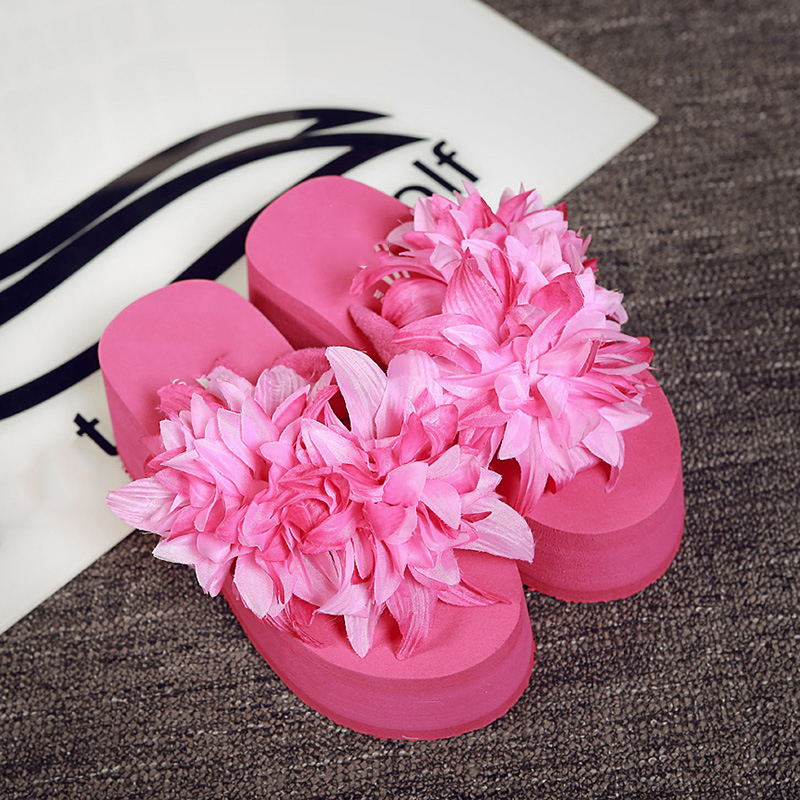 8b738a08345b New Top Sale Summer Women Flip Flops Fashion Big Flower Sandals Lady Wedges  Comfortable Flip Flops New Style Soft Beach Slippers-in Slippers from Shoes  on ...