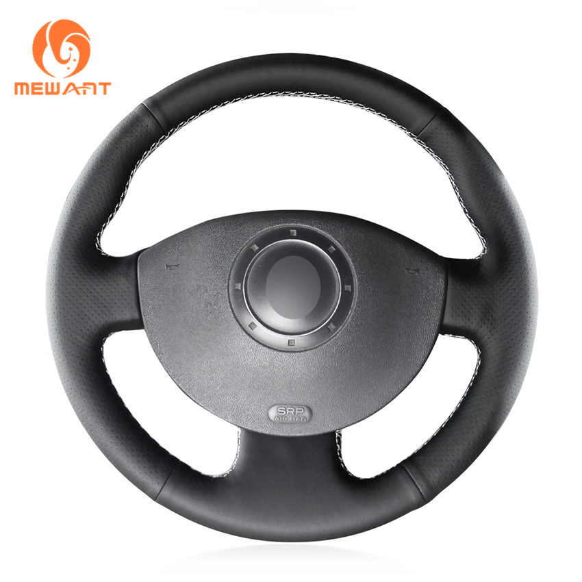 MEWANT Black Artificial Leather Car Steering Wheel Cover for Renault Megane 2 2003-2008 Kangoo 2008-2012 Scenic 2 2003-2009 комплект дефлекторов vinguru накладные скотч для renault scenic ii 2003 2009 минивэн 4 шт