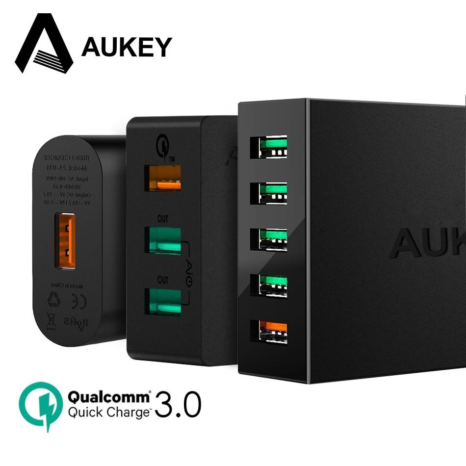 AUKEY Carica Rapida QC 3.0 Veloce Caricatore USB Del Telefono Mobile Per Xiaomi redmi 5 Universale Banca Portatile di Potere del Caricatore Della Parete Per Il Telefono