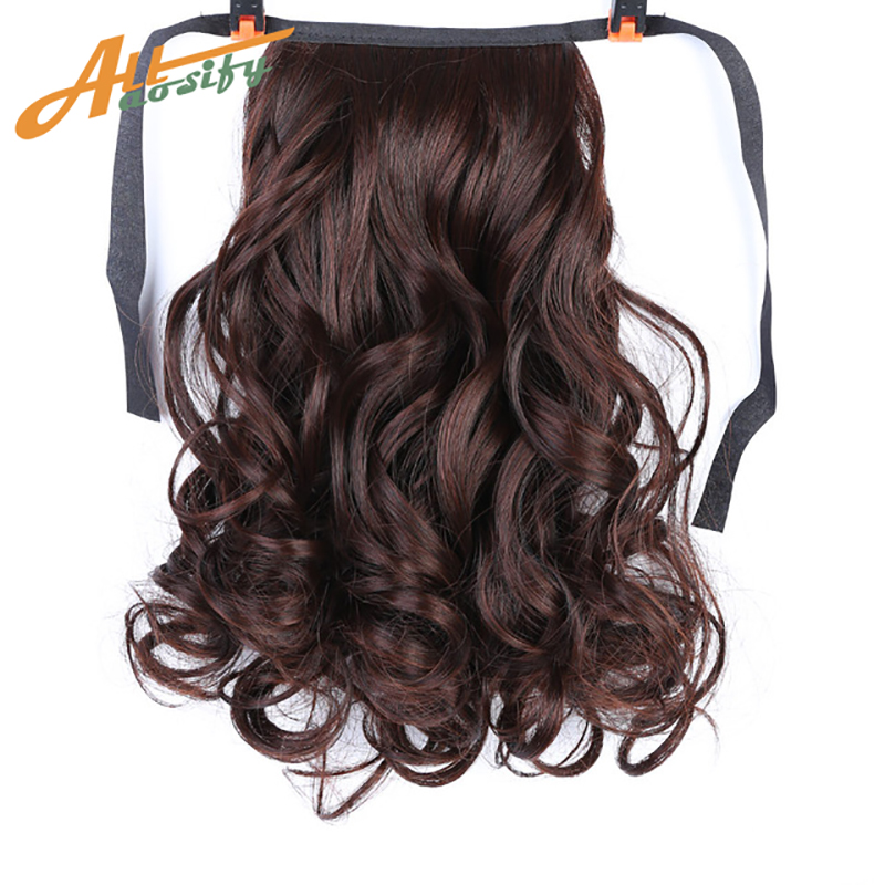Allaosify Brown Black Heat Resistant Synthetic Hair Extensions Pony Tail Hair Extensions Drawstring Ponytail 12