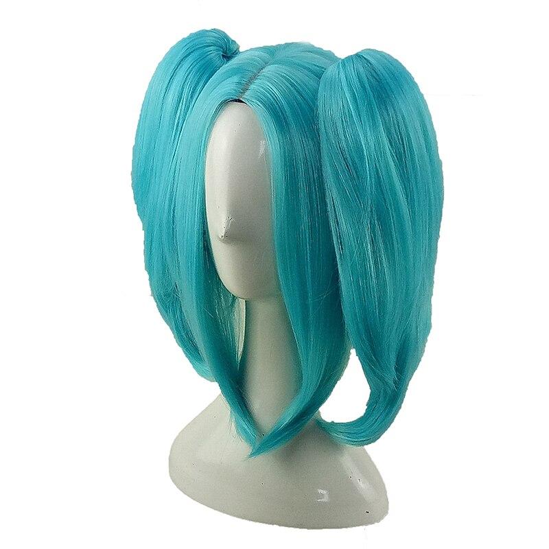 HAIRJOY Synthetic Hair Hatsune Miku Green Cosplay Wig Medium Straight Double Ponytail 2