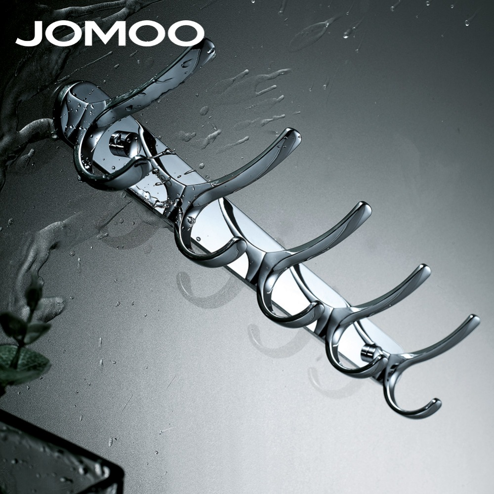 JOMOO Robe Hook Wall Hooks Nail Coat Hook Zinc Chrome Kitchen Key Holder Wall Mounted Clothes Hat Hooks Bathroom Accessories succulent shaped wall mounted hook