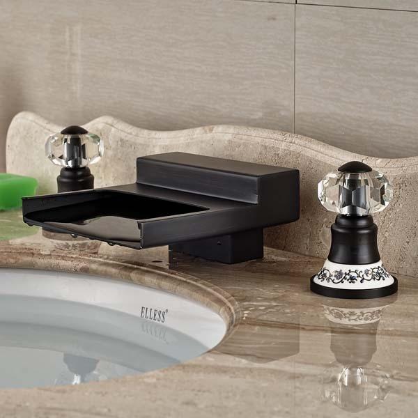 NEW Crystal Ceramic Handles Oil Rubbed Bronze Bathroom Faucet ...