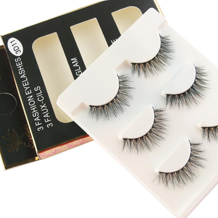 Handmade 1 Box 3 Pairs Luxury 3D False EyeLashes Fluffy Strip Eyelashes Extention Long Natural Party Eye Makeup for women 2U1212