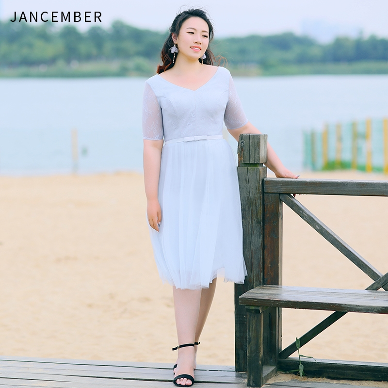 JANCEMBER Plus Size Cocktail Dresses Scalloped Neck Illusion Short Sleeve Bow Belt Lace Up Back A-Line 2019 New Vestido Coctel