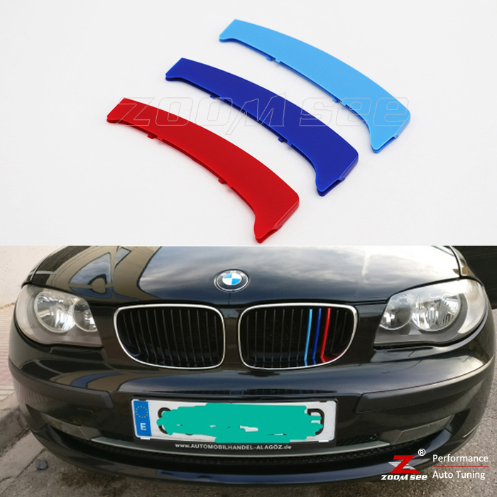 For 2003-2011 BMW 1 series E87 E81 116 118 120 130 3 colors M Sport Front Grille Trim Decoration Strips grill Cover Stickers недорого