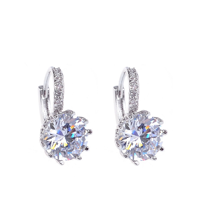 Fashion Alloy Silver Plated 5 Color Geometry Crystal Earrings Simple Jewelry Design Round Zirconia Stud Earrings For Women