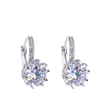 Alloy Silver-Plated 5 Color Geometry Crystal Earrings Simple Jewelry Design Round Zirconia Stud Earrings For Women