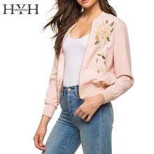 HYH HAOYIHUI Casual Slim Long Sleeve Coat Chaquetas Pink Floral Embroidery Zipper Biker Outwear Chic Crew Neck Bomber Jackets