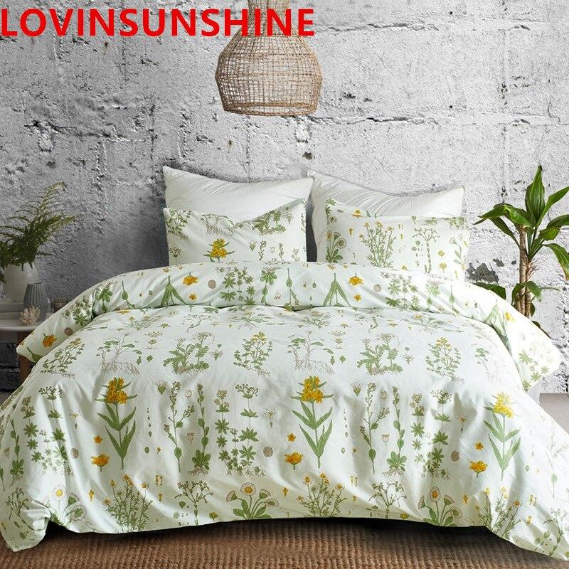 LOVINSUNSHINE Satin Bed Set Luxury Duvet Cover Set Floral Bedding Set Luxury Solid Flat Sheet 70s Flower Printed Bedding Sets