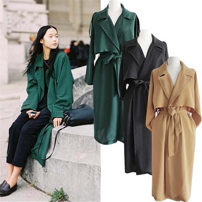 England Style   Trench   Coats For Women Fashion Casual Long Sleeve Outwear Coats   Trench   Coat With Belt For Casual Wear Coats Ma126