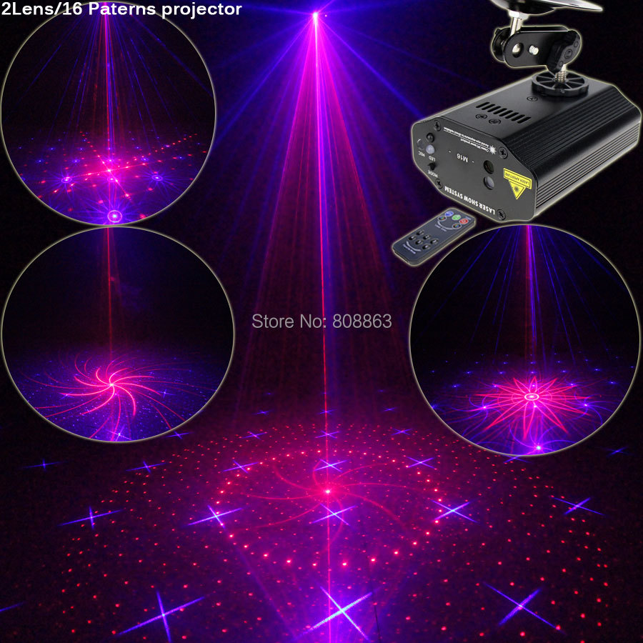 New High Quality Mini Red Blue Laser 16 Patterns Projector Gobos Dance Disco Bar Family Party Xmas DJ Environment Light Show T17 3 lens 36 patterns rg blue mini led stage laser lighting professinal dj light red gree blue