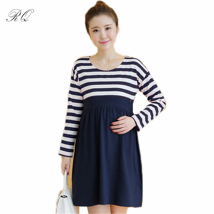 RQ Maternity fashion dress casual cotton maternity clothes plus size ladies stripe Pregnant dresses Q119