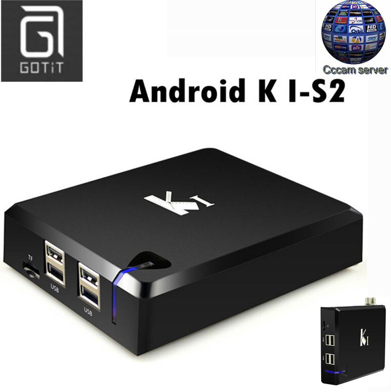 Prix pour GOTiT K1 Android DVB-S2 avec 1 Année Europe CCcam compte Satellite Décodeur boîte Android 4.4 tv box 1/8G satellite tv récepteur