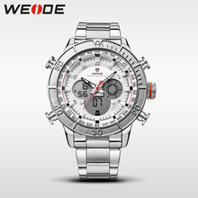 WEIDE luxury brand analog sport watch stainless steel date digital led clock men watch quartz chronograph water resistan horloge weide watch repeater analog lcd digital display outdoor men sport quartz movement date stopwatch back light stainless steel band