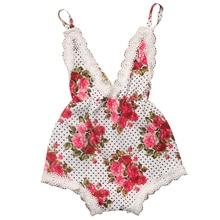2017 Hot Kids Baby Girls Cute Lace Floral Belt Romper Cotton Clothes Playsuit Jumpsuit 0-4T