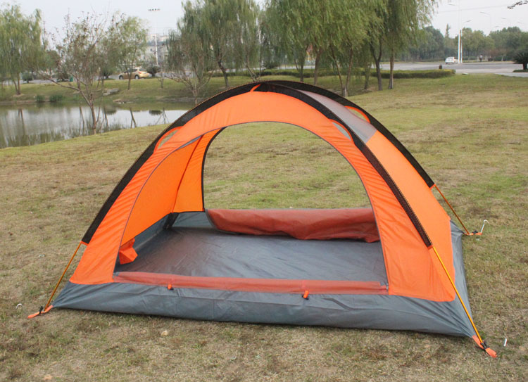 Orange Snow Tent Both doors open no flytop