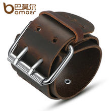 BAMOER Simple Wide Genuine Leather Bracelet With Alloy Clasp Buckle Fashion Men Bracelets Best Gift PI0338-1(China)