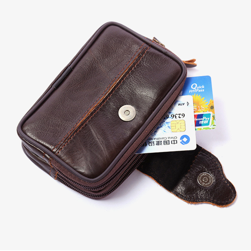 BISI GORO Business Wear-resistant  Small Purse Wear Belt Pocket Phone Coin Men Waist Bag Multi-function Outdoor Heuptas Heren
