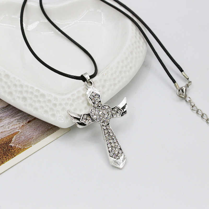 New fashion Angel wing cross necklace women men biker jewelry W/ crystal adjustable antique silver Colour