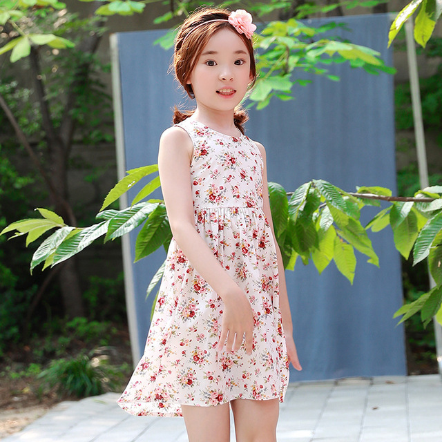 28051af249a cotton sleeveless teenage girls sundress dress floral children clothing  print baby girl dress summer kids clothes 2018 new