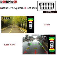 Koorinwoo New OPS System Parktronics Car Parking Sensors 8 Alarm Probe OBD Input for Control Speed Front Radars Rearview Revese