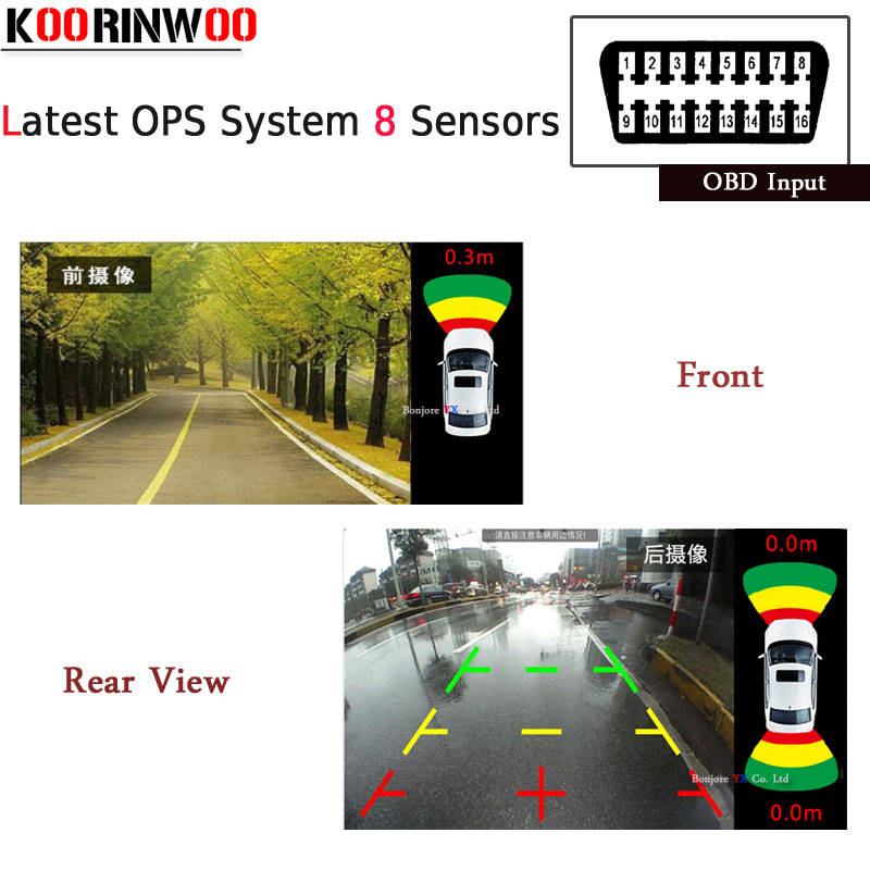 Koorinwoo New OPS System Parktronics Car Parking Sensors 8 Alarm Probe OBD Input for Control Speed Front Radars Rearview Revese park pilot parking front and rear 8 sensors update 8k pdc ops for skoda mqb octavia
