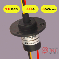 10PCS 3 Wires Circuits 30A 22mm Wind Generator Slip Ring Wind Turbine Slip Ring Rotating